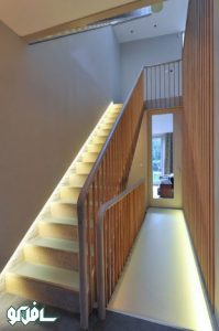 13 199x300 نورپردازی دیواری پله