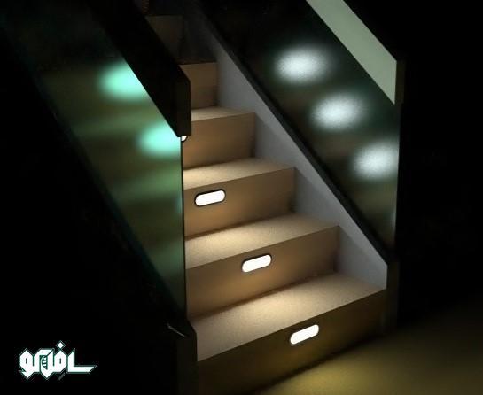 نورپردازی پیشانی پله