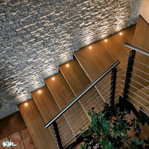 نورپردازی بر روی کف پله (نورپردازی دفنی)